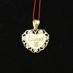 14k Gold Heart Charm Sweet 16 Pendant Necklace